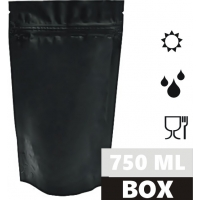 Torebka doypack 750 ml 160x80x270 mm BLACK MATT OPP20mat/AL8/PE95 BOX 1000 szt.